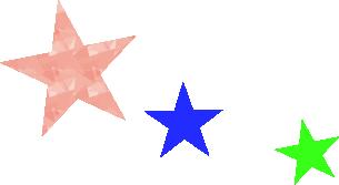 ピンク、青、緑の星